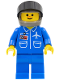 Minifig No: air017  Name: Airport - Blue, Blue Legs, Dark Gray Helmet, Black Visor