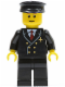 Minifig No: air022  Name: Airport - Pilot with Red Tie and 6 Buttons, Black Legs, Black Hat, Brown Eyebrows, Thin Grin