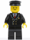 Minifig No: air024  Name: Airport - Pilot with Red Tie and 6 Buttons, Black Legs, Black Hat, Standard Grin