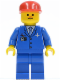 Minifig No: air026  Name: Airport - Blue 3 Button Jacket & Tie, Red Cap, Freckles