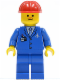 Minifig No: air027  Name: Airport - Blue 3 Button Jacket & Tie, Red Construction Helmet, Freckles