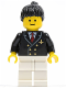 Minifig No: air030  Name: Airport - Pilot with Red Tie and 6 Buttons, White Legs, Black Ponytail Hair, Standard Grin