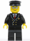 Minifig No: air032  Name: Airport - Pilot with Red Tie and 6 Buttons, Black Legs, Black Hat, Silver Glasses