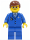Minifig No: air035  Name: Airport - Blue 3 Button Jacket & Tie, Reddish Brown Male Hair, Glasses with Thin Eyebrow