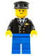 Minifig No: air037  Name: Airport - Pilot, Blue Legs, Black Hat