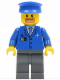 Minifig No: air038  Name: Airport - Blue 3 Button Jacket & Tie, Blue Hat, Dark Bluish Gray Legs
