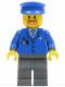 Minifig No: air038  Name: Airport - Blue 3 Button Jacket & Tie, Blue Hat, Dark Bluish Gray Legs