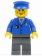Minifig No: air039  Name: Airport - Blue 3 Button Jacket & Tie, Blue Hat, Dark Bluish Gray Legs, Vertical Cheek Lines