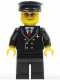 Minifig No: air042  Name: Airport - Pilot with Red Tie and 6 Buttons, Black Legs, Black Hat, Orange Sunglasses