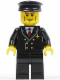 Minifig No: air043  Name: Airport - Pilot with Red Tie and 6 Buttons, Black Legs, Black Hat, Vertical Cheek Lines (3181)