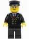 Minifig No: air044  Name: Airport - Pilot with Red Tie and 6 Buttons, Black Legs, Black Hat, Glasses and Open Smile