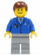 Minifig No: air045  Name: Airport - Blue 3 Button Jacket & Tie, Light Bluish Gray Legs, Reddish Brown Male Hair, Thin Grin with Teeth