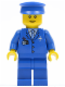Minifig No: air046  Name: Airport - Blue 3 Button Jacket & Tie, Blue Hat, Blue Legs