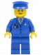 Minifig No: air046  Name: Airport - Blue 3 Button Jacket & Tie, Blue Hat, Blue Legs