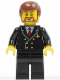 Minifig No: air048  Name: Airport - Pilot with Red Tie and 6 Buttons, Black Legs, Reddish Brown Hair, Brown Beard Rounded