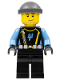 Minifig No: aqu024  Name: Aquaraider Diver 5 - Dark Bluish Gray Knit Cap