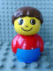 Minifig No: baby001  Name: Primo Figure Boy with Blue Base, Red Top, Brown Hair