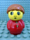 Minifig No: baby002  Name: Primo Figure Boy with Red Base, Red Top with Two Buttons, Dark Orange Hair