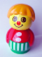 Minifig No: baby003  Name: Primo Figure Boy with Green Base with White Stripes, Red Top, Medium Orange Hair