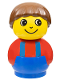 Minifig No: baby011  Name: Primo Figure Boy with Blue Base, Red Top with Blue Suspenders, Brown Hair
