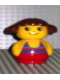 Minifig No: baby012  Name: Primo Figure Girl with Red Base, Yellow Top with Red Swimsuit with Blue Stripes, Brown Hair