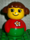 Minifig No: baby013  Name: Primo Figure Girl with Green Base, Red Top with Daisy Pattern, Brown Hair