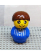 Minifig No: baby014  Name: Primo Figure Boy with Blue Base, Blue Top with Stripes and Three Buttons, Brown Hair