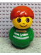 Minifig No: baby015  Name: Primo Figure Boy with Green Base, Green Top with White Stripes and Anchor Pattern, Dark Orange Hair