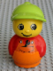Minifig No: baby016  Name: Primo Figure Boy with Orange Base, Red Top with Orange Dungarees with Wrench, Medium Lime Hat