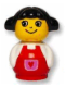 Minifig No: baby022  Name: Primo Figure Girl with Red Base, White Top with Red Overalls with Red Heart in Purple Pocket, Black Hair
