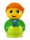 Minifig No: baby023  Name: Primo Figure Boy with Lime Base, Green Top, Orange Hat