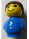 Minifig No: baby024  Name: Primo Figure Boy with Blue Base, Blue Top with Three Buttons, Brown Hair