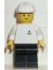 Minifig No: boat003  Name: Boat Worker - Torso with Anchor, Black Legs, White Construction Helmet