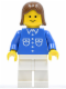 Minifig No: but040  Name: Shirt with 6 Buttons - Blue, White Legs, Brown Female Hair