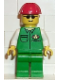 Minifig No: car002  Name: Cargo - Green Shirt, Green Legs, Red Construction Helmet
