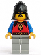 Minifig No: cas014  Name: Dragon Knights - Knight 1, Light Gray Legs, Black Neck-Protector