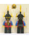 Minifig No: cas018a  Name: Dragon Knights - Knight 2, Black Legs with Red Hips, Black Dragon Helmet, Yellow Plumes, Black Plastic Cape (set 6105)