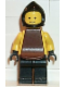 Minifig No: cas089  Name: Blacksmith - Black Legs and Hips, Yellow Torso and Arms, Black Hands, Brown Cowl and Plastic Cape