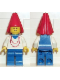 Minifig No: cas095  Name: Maiden with Necklace - Blue Legs, Cape, Red Cone Hat, Blue Plastic Cape