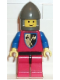 Minifig No: cas110  Name: Crusader Axe - Red Legs with Black Hips, Dark Gray Chin-Guard