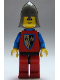 Minifig No: cas111a  Name: Crusader Axe - Red Legs with Black Hips, Dark Gray Neck-Protector, Blue Plastic Cape