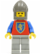 Minifig No: cas116  Name: Crusader Lion - Light Gray Legs, Dark Gray Chin-Guard, Blue Plastic Cape
