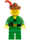 Minifig No: cas128new  Name: Forestman - Pouch, Reddish Brown Hat, Red Feather (Reissue)