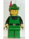 Minifig No: cas130  Name: Forestman - Black, Green Hat, Red Feather