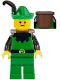 Minifig No: cas131a  Name: Forestman - Black, Green Hat, Black Feather, D-Basket (Set 6066)