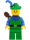 Minifig No: cas132a  Name: Forestman - Blue, Green Hat, Blue Feather, Quiver (Set 6077)
