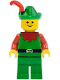 Minifig No: cas137  Name: Forestman - Red, Green Hat, Red Feather