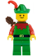 Minifig No: cas137a  Name: Forestman - Red, Green Hat, Red Feather, Quiver (set 6066)