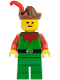 Minifig No: cas139  Name: Forestman - Red, Brown Hat, Red Feather