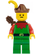 Minifig No: cas140a  Name: Forestman - Red, Brown Hat, Yellow Feather, Quiver (Set 6077)